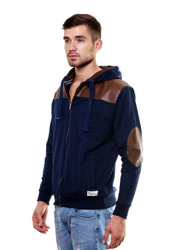 Leather Work Designer Sweatshirt with Hood
