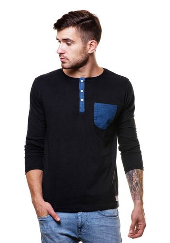 Denim Pocket henley tshirt