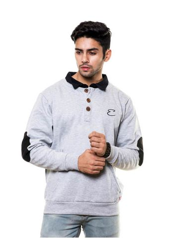 Henley Round Neck Sweatshirts with Double Collar