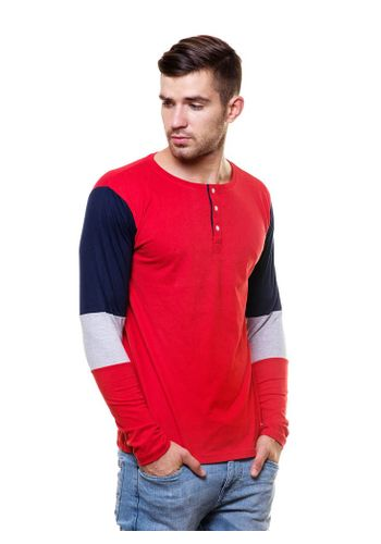 Panel Sleeves henley tshirt
