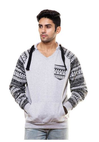 Aztec Printed Sleeve Sweatshirt with Hood & Pocket
