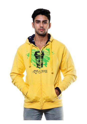 Double Layer Printed sweatshirt with Hood and Zip