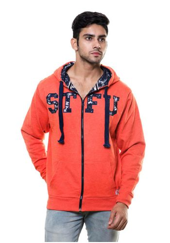 Double Layer Embroidered sweatshirt with Hood and Zip