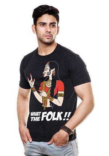 Wat the folk Round Neck T Shirt