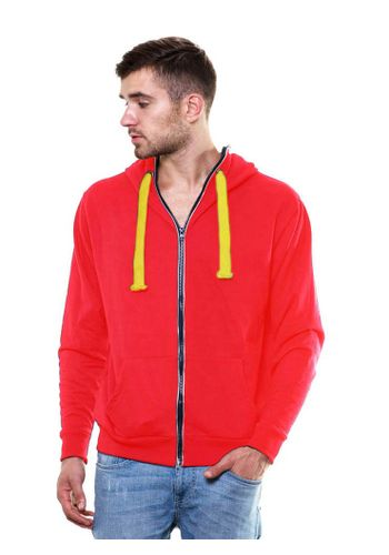 Solid Zipper Red Sweatshirt with Hood