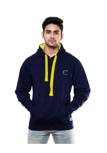 Solid Plain Navy Blue Sweatshirt with Hood