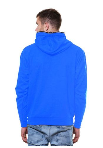 Solid Zipper Ocen Blue Sweatshirt with Hood
