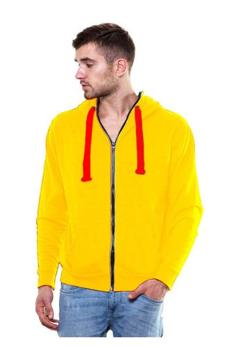 Solid Zipper Yellow Sweatshirt with Hood