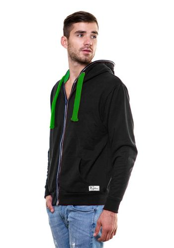 Solid Zipper Black Sweatshirt with Hood