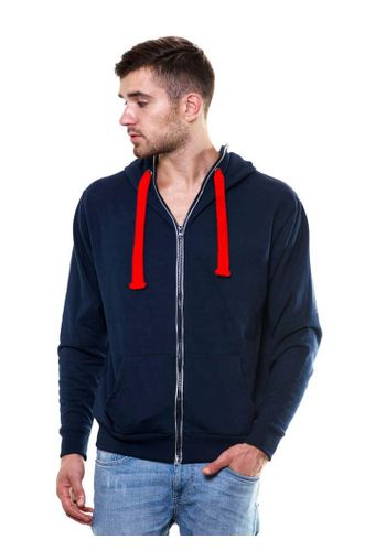 Solid Zipper Navy Blue Sweatshirt with Hood