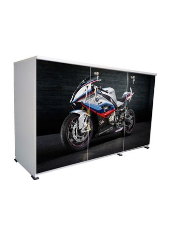 BigSmile 3 Door Multipurpose Storage Cabinet - Bike (2.5ft x 4ft) Glossy Finish