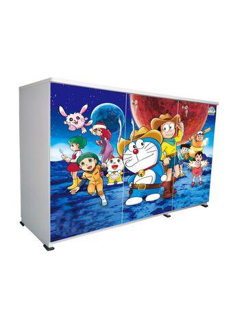 BigSmile 3 Door Multipurpose Storage Cabinet - Cartoon Dora (2.5ft x 4ft) Glossy Finish