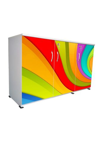 BigSmile 3 Door Multipurpose Storage Cabinet - Color Waves (2.5ft x 4ft) Glossy Finish