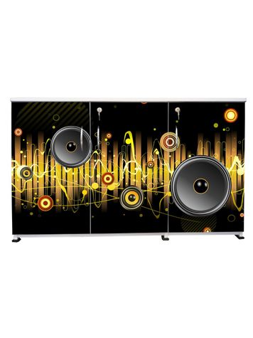 BigSmile 3 Door Multipurpose Storage Cabinet - Music Lover(2.5ft x 4ft) Glossy Finish