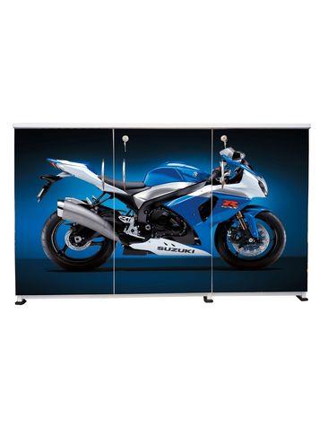 BigSmile 3 Door Multipurpose Storage Cabinet - Blue Bike (2.5ft x 4ft) Glossy Finish