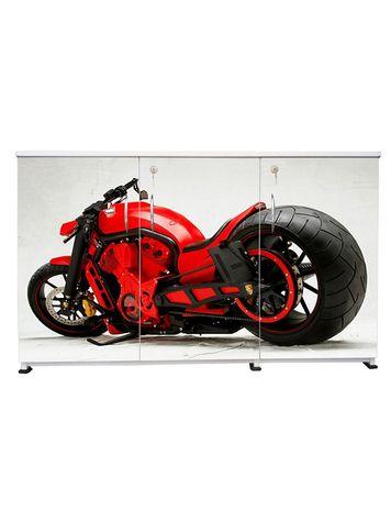 BigSmile 3 Door Multipurpose Storage Cabinet - Red Bike (2.5ft x 4ft) Glossy Finish