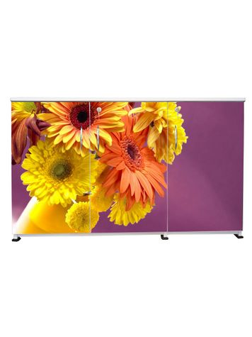 BigSmile 3 Door Multipurpose Storage Cabinet - Blossoms (2.5ft x 4ft) Glossy Finish