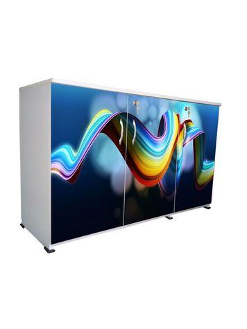 BigSmile 3 Door Multipurpose Storage Cabinet - Blue Ribbons (2.5ft x 4ft) Glossy Finish