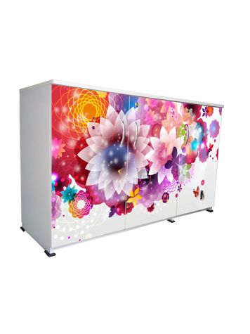 BigSmile 3 Door Multipurpose Storage Cabinet - Floral Valley (2.5ft x 4ft) Glossy Finish