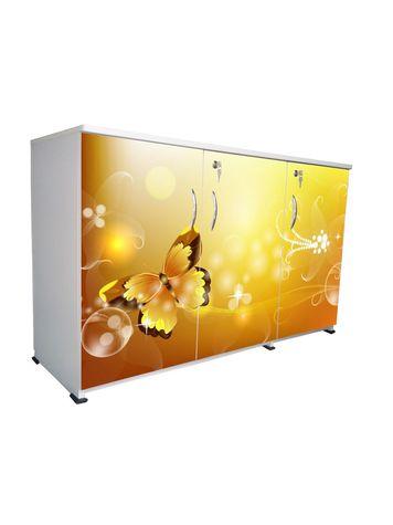 BigSmile 3 Door Multipurpose Storage Cabinet - Golden Butterfly (2.5ft x 4ft) Glossy Finish