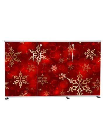BigSmile 3 Door Multipurpose Storage Cabinet - Golden Red (2.5ft x 4ft) Glossy Finish