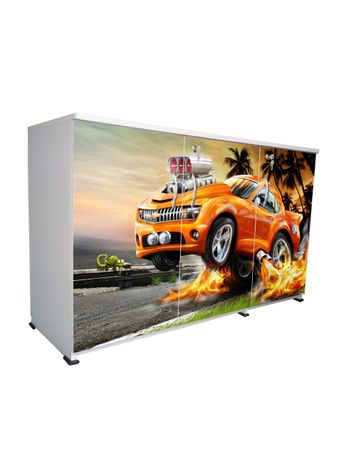 BigSmile 3 Door Multipurpose Storage Cabinet - Orange Car (2.5ft x 4ft) Glossy Finish