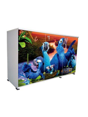 BigSmile 3 Door Multipurpose Storage Cabinet - Naughty Parrot (2.5ft x 4ft) Glossy Finish