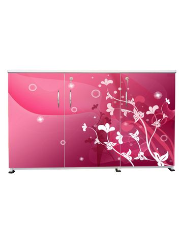 BigSmile 3 Door Multipurpose Storage Cabinet - Pink Beauty (2.5ft x 4ft) Glossy Finish