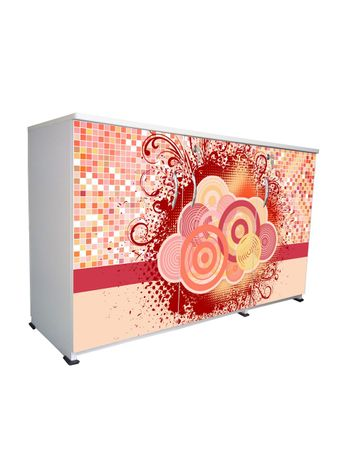 BigSmile 3 Door Multipurpose Storage Cabinet - Playful Circles (2.5ft x 4ft) Glossy Finish