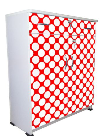 BigSmile Shoerack - Red Polka