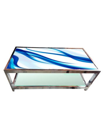 Glass Table - Blue Curves