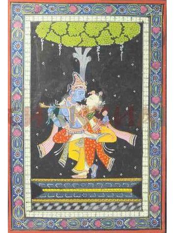 Krishna Radha - Colored Pattachitra Painting