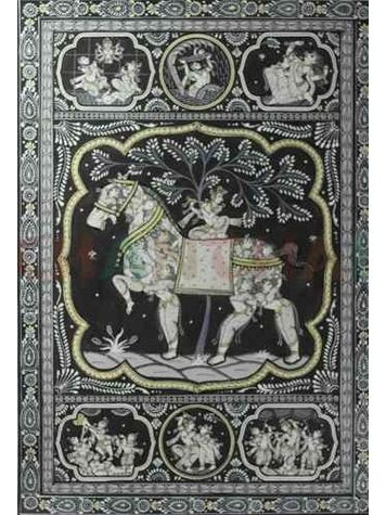 Krishna's Birth Phase and Life - Black & White Pattchitra Painting