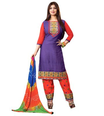 Rudra House Purple Cotton Unstitched Dress Material
