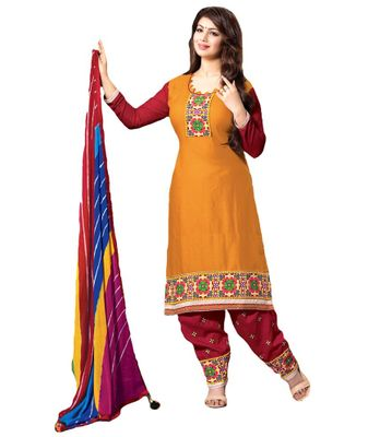 Rudra House Yellow Cotton Unstitched Dress Material