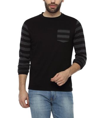 PepperClub Men's Cotton Round Neck Full Sleeve Tshirt With Striped Sleeves And Pocket