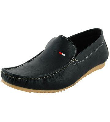 LeatherKraft Men's Black Shearling Loafers