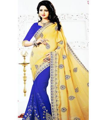 New Arrival Designer Saree Blue, Yellow Color