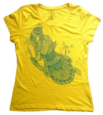 Mithila painting Tshirt For Female (मिथिला पेंटिंग टीशर्ट फॉर फीमेल )
