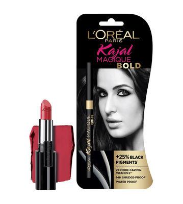 L'Oreal Paris Infallible 343 Red Fatale Lipstick & Magique Bold Kajal Free