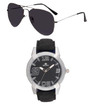 Rologi Black Analog Watch with Sunglasses