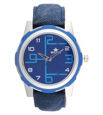Rologi Blue Leather Analog Watch