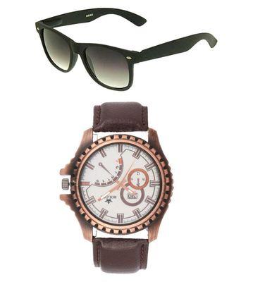 Rologi Brown Analog Watch with Sunglasses