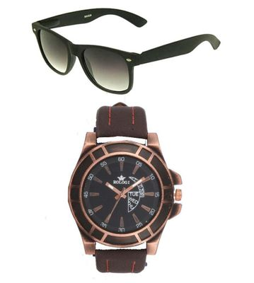 Rologi Brown Leather with Black Aviator