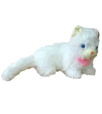White Cat Teddy Bear With Sound & Light