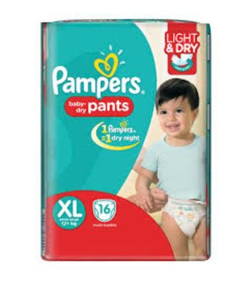 PAMPERS BABY DRY PANTS XL 16PCS 12+ KG