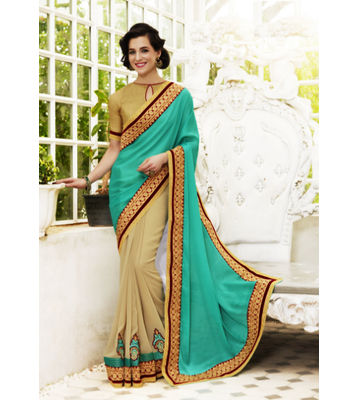 Crepe Jacquard Green And Beige Color Saree