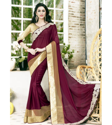 Satin Silk Maroon Color Saree