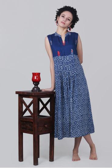 ab732f8b7f0b1d Indigo Paisley Applique Dress