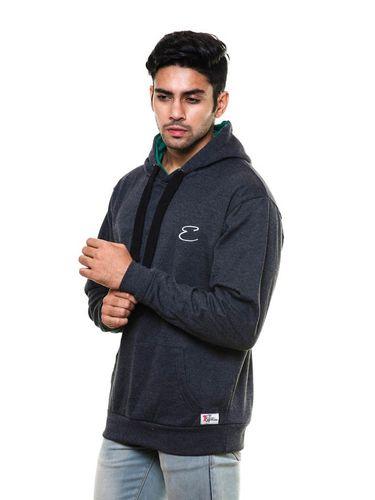 Solid plain Charcoal Sweatshirt with Hood